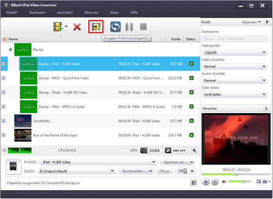 Videos für iPad umwandeln